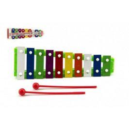 Teddies Xylofon kov/plast + 2 paličky 26cm asst 3 barvy v sáčku