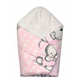 Baby Nellys Novorozenecká zavinovačka Medvídek s králíčkem Bubble, 75x75 cm - růžová