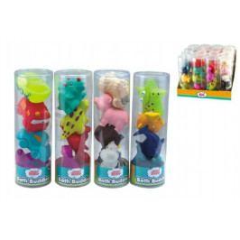 Teddies Stříkací figurky zvířátka/dopravní prostředky do vany 4ks gumová asst 4 druhy v tubě