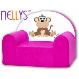 NELLYS Dětské křeslo Nellys - Opička Nellys růžová