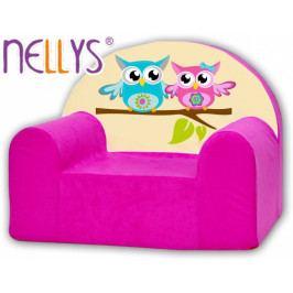 NELLYS Dětské křeslo Nellys - Sovičky Nellys růžové