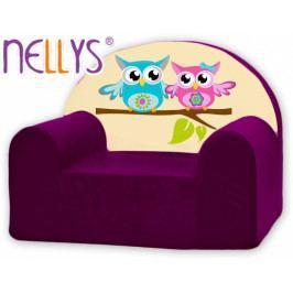 NELLYS Dětské křeslo Nellys - Sovičky Nellys fialové