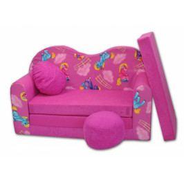 NELLYS Rozkládací dětská pohovka - Poníci v růžovém V