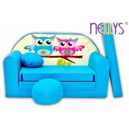 NELLYS Rozkládací dětská pohovka Nellys ® Sovičky - modré