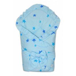 Baby Nellys Rychlozavinovačka 80x80cm s volánkem a stuhou - Baby stars - modrá
