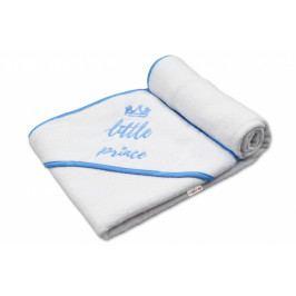 Baby Nellys Dětská termoosuška Little prince s kapucí, 100 x 100 cm - bílá, modrá výšivka