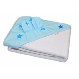 Baby Nellys Dětská termoosuška s oušky Baby Stars s kapucí, 100 x 100 cm - bílá, modré hvězdy