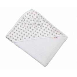 Baby Nellys Dětská termoosuška s oušky Baby Mini Stars s kapucí, 100 x 100 cm - bílá, šedé hvězdičky