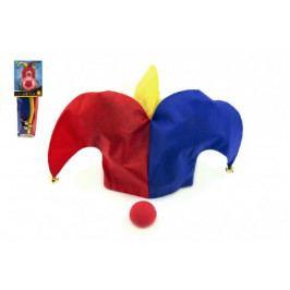 Teddies Klaunský klobouk látkový + nos karneval na kartě 11x30cm