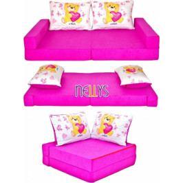 NELLYS Rozkladací dětská pohovka de luxe - Míša růžový
