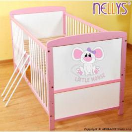 NELLYS Dřevěná postýlka 2 v 1 Nellys LITTLE MOUSE - růžová/bílá