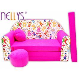 NELLYS Rozkládací dětská pohovka Nellys ® 70R - Pohádkové postavičky v růžové