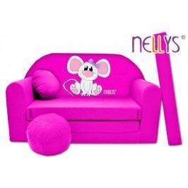 NELLYS Rozkládací dětská pohovka Nellys ® Myška v růžovém