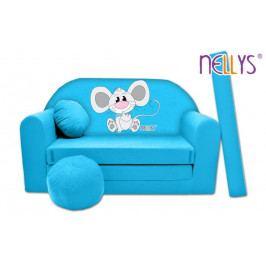 NELLYS Rozkládací dětská pohovka Nellys ® Myška v modrém