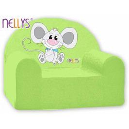 NELLYS Dětské křeslo Nellys - Myška v zeleném