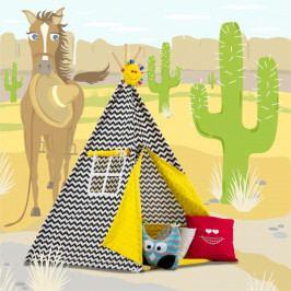 Baby Nellys Stan pro děti TIPI + podložka a 2 polštářky - Zigzag černobílá, žlutá