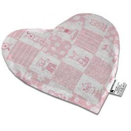 Babyrenka nahřívací polštářek z třešňových pecek Srdíčko Mimi pink 20 x 20 cm