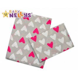 Baby Nellys Povlečení do postýlky - Srdíčka růžové/bílá v šedé