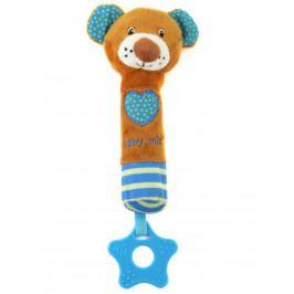 Dětská pískací plyšová hračka s kousátkem Baby Mix medvídek modrý