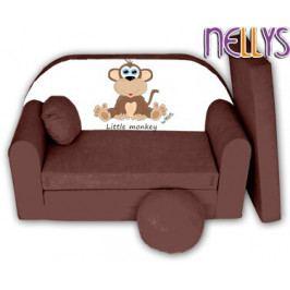 NELLYS Rozkládací dětská pohovka Little Monkey Nellys - hnědá