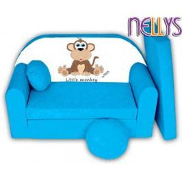 NELLYS Rozkládací dětská pohovka Little Monkey Nellys - modrá
