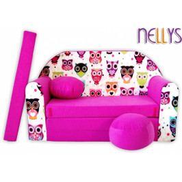 NELLYS Rozkládací dětská pohovka 46R - Malé sovičky v růžové