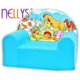 NELLYS Dětské křesílko/pohovečka Nellys ® - Farma v modrém