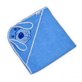 Baby Nellys Dětská osuška 80 x 80cm Pejsek s kapucí - modrá