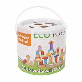 ECO TOYS Dřevěné kostky v kyblíku ECO TOYS - 50 kusů