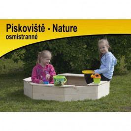 Česká dřevěná hračka Dřevěné osmihranné pískoviště natur s ochrannou sítí