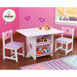Kidkraft KidKraft dětský stůl Heart se dvěma židličkami a boxy