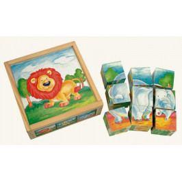 Bino Dřevěné hračky - Obrázkové  kostky - Divoká zvířata 9 ks