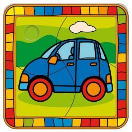 Bino Dřevěné hračky -  Vkládací puzzle auto