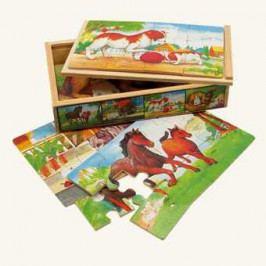 Bino Dřevěné hračky -  Puzzle v krabičce - zvířátka