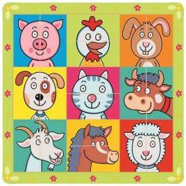 Bino Dřevěné hračky -  Puzzle zvířecí hlavičky