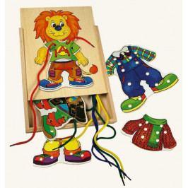 Bino Dřevěné hračky-motorické hry- Lvíček Leo, první šití
