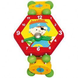Bino Dřevěné hračky - Dřevěné hodinky pirát - červené