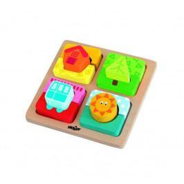 Woody Dřevěné hračky - Destička s puzzle-tvary Slunce domova