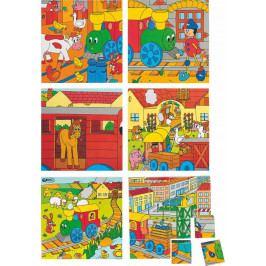 Woody Dřevěné obrázkové kostky kubusy - Kubus 4x4 Mašinka