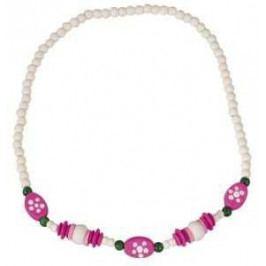 Detoa Dřevěné hračky - dřevěné korálky - Dětský náhrdelník bílý