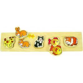 Bigjigs Toys Dřevěné vkládací puzzle - Domácí zvířata