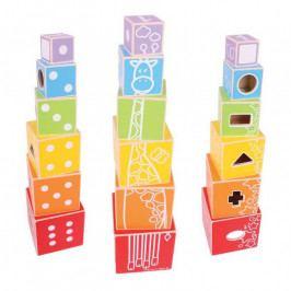 Bigjigs Toys Dřevěná motorická věž z kostek