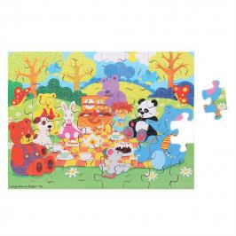 Bigjigs Toys Bigjigs Toys dřevěné puzzle - Piknik zvířátek - 48 dílků