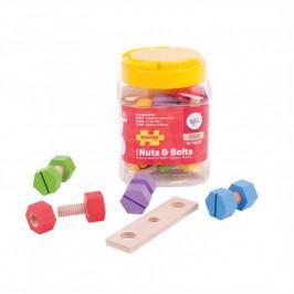 Bigjigs Toys Bigjigs Toys nařadí - Dřevěný spojovací materiál v dóze