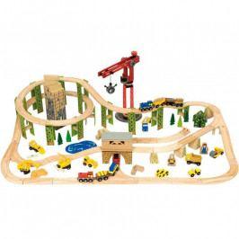 Bigjigs Rail Bigjigs - Visutá vláčkodráha se stavebními stroji - 116 dílů