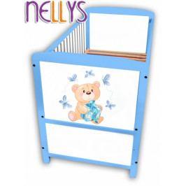 NELLYS Dřevěná postýlka Nellys modrá s Míšou