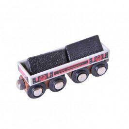 Bigjigs Rail Vláčkodráha Bigjigs Rail - Dlouhý vagónek s uhlím + 2 koleje