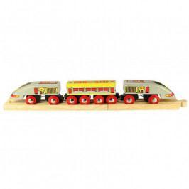 Bigjigs Rail Vláček Bigjigs - Osobní vlak - Rychlík Eurostar + 3 koleje
