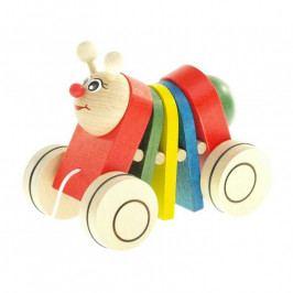 Česká dřevěná hračka Dřevěná tahací hračka - Housenka klapací