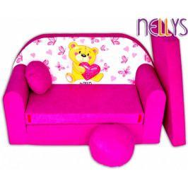 NELLYS Rozkládací dětská pohovka Míša růžový
